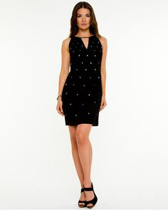 Le Château: Skull Stud Challis Dress. Made in Canada.