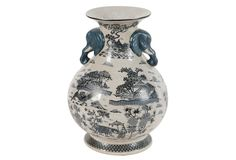"Chinoiserie Vase, Evergreen; 10.2""Dia x 13.8""H"