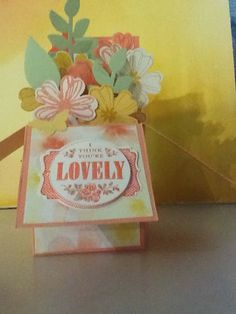 Card in a box using watercolour wonder DSP and free  Sale a bration stamps