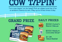 Play the Culver's 'Cow Tippin' Instant Win Game