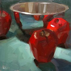 """'Drawn to Reflections' (2012) from the """"Painting a Day"""" series by American painter Carol Marine. via the artist's blog"""