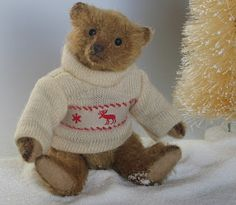 "Paula Strethill-Smith: Christmas Collection. *ROBIN* 4.5"" miniature teddy bear created from old gold mohair over aged and tinted.Matt glass eyes. Wears a wool jumper with reindeer trimming."