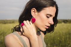 Ring and earrings handmade with real bougainvillea leaves