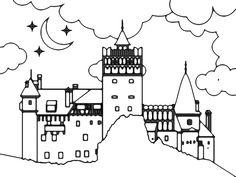 Dracula Castle illustration designed by Alex Tass, logo designer. Identity Design, Logo Design, Graphic Design, Castle Illustration, Dracula Castle, Portfolio Design, Coloring Books, Illustrations, School