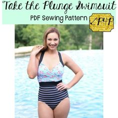 This is a PDF sewing pattern and tutorial to teach you how to create these garments. THIS IS NOT A FINISHED PRODUCT.  This intermediate knit pattern is a traditional, tight fitting one piece swimsuit with tons of options!  It is fully lined and comes with directions to add bust support (sew in swim cups, power mesh and under bust elastic). All seams are enclosed and edges finished with elastic for a secure, traditional swimsuit fit and feel.  This suit is the perfect suit to get you through…