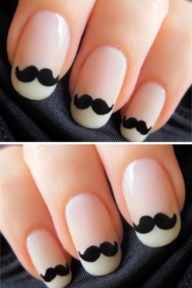 [HONEYMOON NAILS...] Mustache Wedding Nails...too funny for an engagement party or bridal shower!
