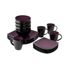 Contemporary Square Dinnerware 16 Piece Purple Dishes Dinner Plates Mugs Bowls - Dinner Service Sets