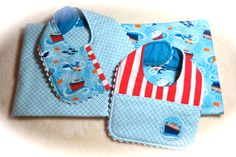 Ships Ahoy Receiving Blankets and Bibs