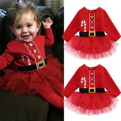 Baby Girls Dress Kids Baby Girl Fleece Tops Tulle Tutu Dress Party Christmas Clothes Outfits Costume 0-2T