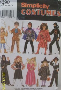 Simplicity Costumes Sewing Pattern 9698 Boys Girls Knight Devil Pirate Witch New #Simplicity