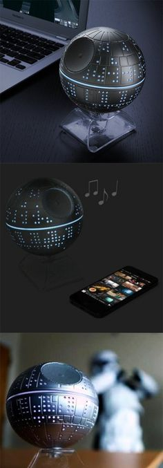 The Death Star Speaker with Wireless Music Streaming. Wait is that a storm trooper dancing in the back