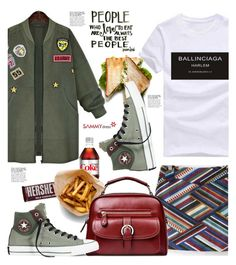 """""""Sammydress.com: People who loves to eat are always the best people."""" by hamaly ❤ liked on Polyvore featuring Hershey's, Converse, ootd, sporty, Sweatshirt, pants and sammydress"""