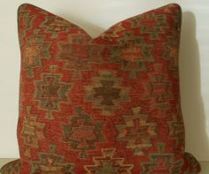 Handmade Decorative pillow, mountain, lodge, cabin, red and green, 20 inch
