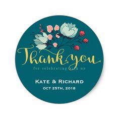 Spring Wedding Thank You Cards Rustic Flower Script Thank You Wedding Sticker