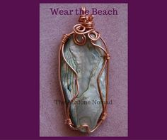 Caged Copper Wire Wrapped Abalone Pendant