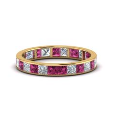 2.50 Carat Princess Channel Eternity Bands with Diamonds in 14K Yellow Gold exclusively styled by Fascinating Diamonds