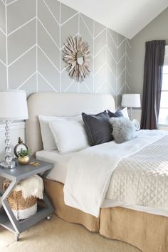 Neutral bedroom decor-- grey, white, tan, cream, beige, slate, gold metal, silver metal
