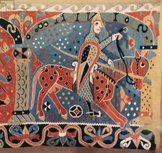 Norman cavalier on a piebald horse, detail from the Baldishol Tapestry from Baldishol Church, Hedmark (tapestry)