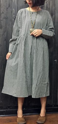 2018 plaid linen dress plus size clothing traveling dress boutique o neck elastic waist cotton dresses