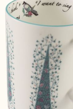 """Spirited Bulbul songbirds perched on the branches of pomegranate trees amidst cypress trees with blossoming vines. And in the lip, our favourite Rumi quote: """"""""I want to sing like the birds sing, not worrying about who hears or what they think."""" Discover these mugs on our #WebBoutique #EverydayLuxury #ChaiTime"""