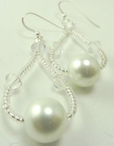 White Pearl and Crystal Earrings - Wedding White Earrings - Earrings for the Bride - via Etsy.