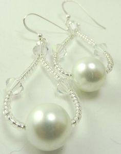 White Pearl and Crystal Earrings - Wedding White Earrings - Earrings for the Bride - via Etsy.