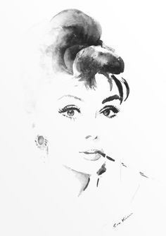 Breakfast at Tiffany's Audrey Hepburn black and white.