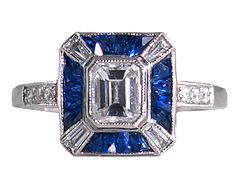 Antique Engagement Rings Art Deco Style Sapphire Ring