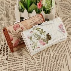 New Fashion Lady Women\'s Korean Retro Floral Artificial Leather Wallet