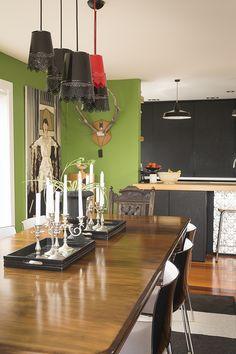 Dining room & kitchen #diningroom #lighting #DIYlighting #greenwalls #eclectic