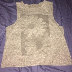 Brandy Melville top Grey top with flowers Brandy Melville Tops Tank Tops