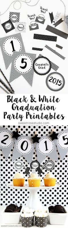 Free+Black+and+White+Graduation+Party+Printables,+ready+to+make+your+party+stand+out!