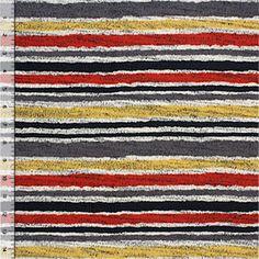 Gold Gray Red Wavy Stripe Hacci Sweater Knit Fabric