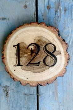 House number sign wooden rustic handmade plaque. by HeartwoodHouse