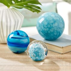 Capri S/3 Spheres Paperweights Marbleized, Murano, Bubble © Two's Company