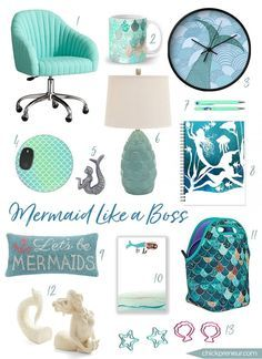 The Mermaid: enchanting & graceful, seductive & confident. This Lady Boss of the Sea is celebrated in this roundup of office decor & accessories. Embrace your inner Siren.♥️ SOHO Desk Chair in Pool Linen / $399 Summer Mermaid Mug / $15 Mermaid Wall Clock / $30 Mermaid Tail Mousepad / $10.99 Mermaid Pewter Cabinet Knobs …