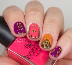 The Beauty Buffs - Neon Trend: Wood Grain & Neon Tribal Print - Wondrously Polished