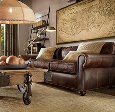 Lancaster Leather Sleeper Sofas. l love this sofa in the old saddle chesnut, lighter leather. But I always go sit on this one and a few others whenever I go into Restoration hardware bc I love how deep and comfortable they are. Love!