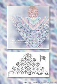 El chal por el gancho para los principiantes. // Лариса Рыжанкова Crochet Patron, Crochet Poncho, Crochet Scarves, Crochet Clothes, Crochet Lace, Crochet Diagram, Crochet Chart, Crochet Stitches, Shawl Patterns