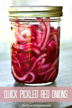 Quick Pickled Red Onions for fast flavour and ZING on sandwiches, salads, antipasto and charcuterie plates, and more! from foodiewithfamily.com