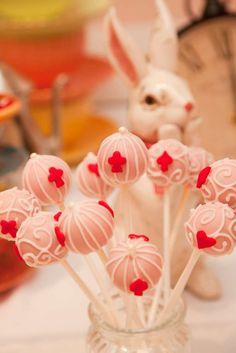 Alice in Wonderland 1st Birthday cakepops & bunny Eva's 7th Birthday | CatchMyParty.com