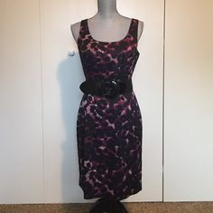 Ann Taylor Silk Dress Purple and black cheetah like print. Outter shell 68% silk. Size 8P. Excellent condition! (Belt prop only, not included) Ann Taylor Dresses