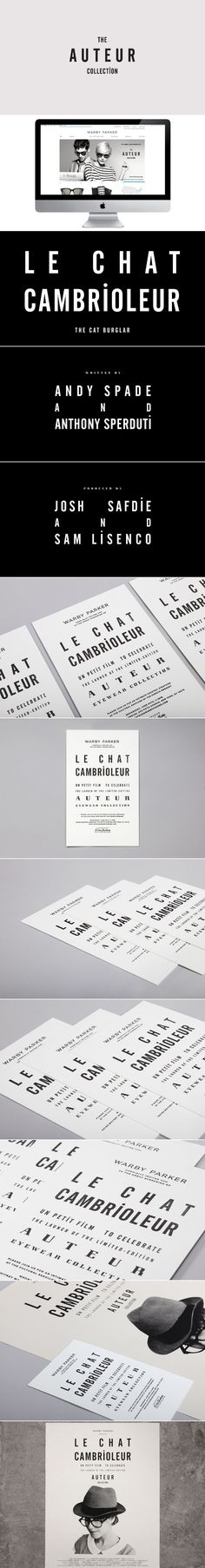 Le Chat Cambrioleur – The graphic sensibility of French New Wave films inspired the design and typography of a several printed pieces and film credits that would announce Warby Parker's Auteur Collection, debuting at the French Embassy of New York in the summer of 2012.    CREDITS  Role – Art Direction & Design Creative Direction – Partners & Spade Producer – Warby Parker Editing – Red Bucket Films