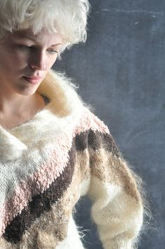 Vintage 1980s AMAZING Cowl Neck Angora Mohair Hand by drowsySwords, $120.00