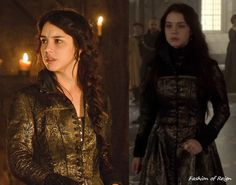 In the ninth episode Mary will be seen in one regal brocade floor-length button-down dress coat that was custom made for her by Reign's costume department. Worn with Free People top. FYI You probably. Reign Mary, Mary Queen Of Scots, Reign Season 1, Isabel Tudor, Marie Stuart, Reign Tv Show, Reign Dresses, Reign Fashion, Fairytale Fashion
