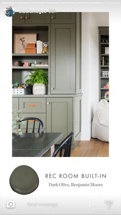 @studiomcgee  Dark Olive Benjamin Moore Kitchen Cabinet Colors, Painting Kitchen Cabinets, Kitchen Colors, Mudroom Cabinets, Laundry Cabinets, Laundry Room, Benjamin Moore Kitchen, Painting Bookcase, Grey Room