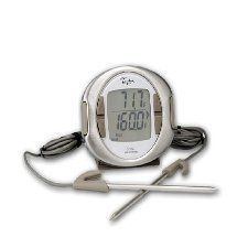 """Taylor 522 Connoisseur Programmable Thermometer w/ Dual Probes by Taylor. $46.68. The Taylor 522 Connoisseur Programmable Thermometer w/ Dual Probes allows users to measure two temperatures at once even if they have different temperature desires. The two probes have thin tips, creating smaller punctures and 1 second response times. The preset temperatures for rare to well done meat and poultry. The thermometer runs on (2) """"AAA"""" batteries and the silicone base grips to any..."""