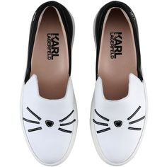 Karl Lagerfeld K/Sneaker Slip On ($360) ❤ liked on Polyvore featuring shoes, flats, sneakers, leather slip on shoes, white flat shoes, white flats, leather slip-on shoes and cat shoes