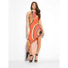A modern, seductively romantic look for this long dress with explosive multi-coloured print and asymmetric shape for a graceful, feminine effect. Romantic Look, Trousers, Bodycon Dress, Feminine, Shape, Modern, Skirts, Tops, Dresses