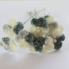 gray and white mini flowers crochet  pin 20 pcs. by TheThailand on Etsy